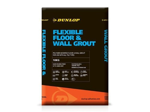 Dunlop Flexible Floor and Wall Tile Grout 10kg [Grey]
