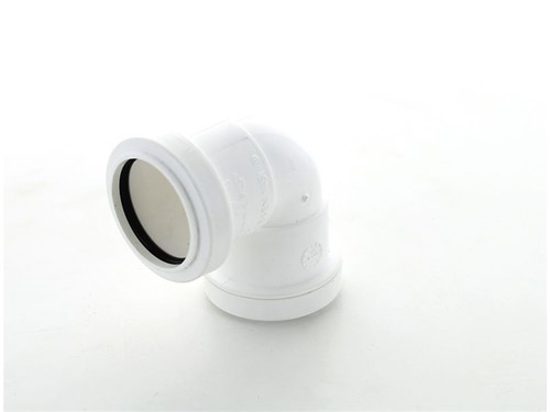 Push Fit Waste Knuckle Bend 90Deg 32mm [White}
