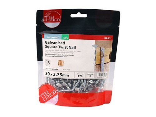 Square Twist Nail Galvanised 30mm x 3.75g 500g
