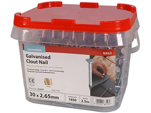 Clout Nails Galvanised 30mm x 2.65g 2.5kg