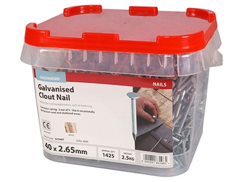 Clout Nails Galvanised 40mm x 2.65g 2.5kg