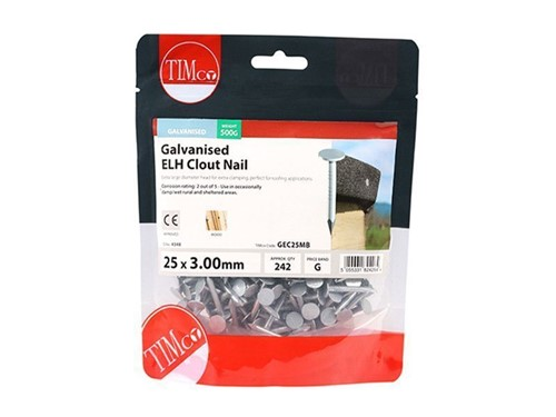 Clout Nails ELH Galvanised 25mm x 3.00g 500g
