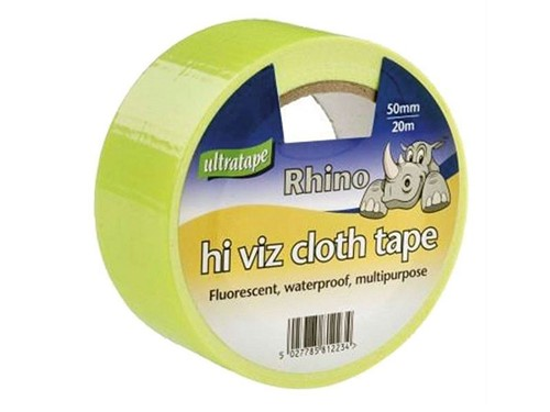 Ultratape Rhino Hi-Viz Yellow Cloth Tape 20m