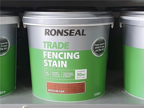 Ronseal - Trade Fencing Stain 9 Litre [Medium Oak]