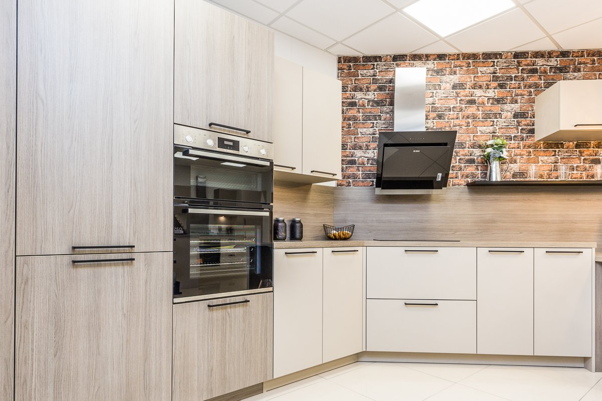 Symphony modern kitchen with exposed brick effect