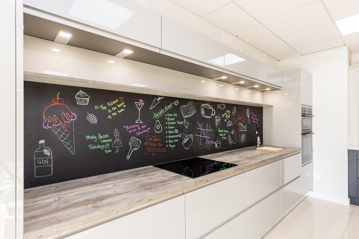 Blackboard backsplash in modern kitchen in Sleaford