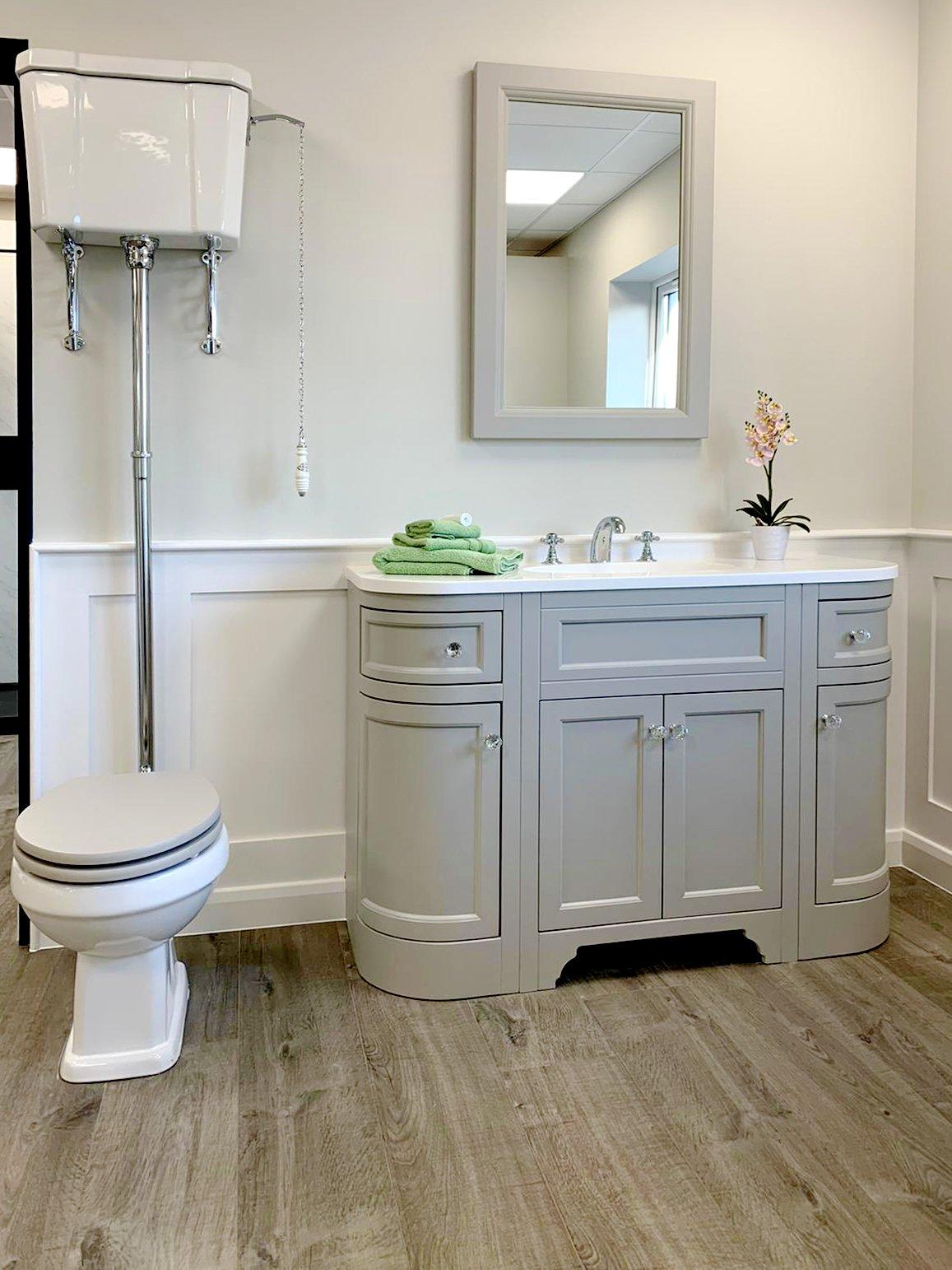Burlington high level cistern bathroom with traditional vanity unit