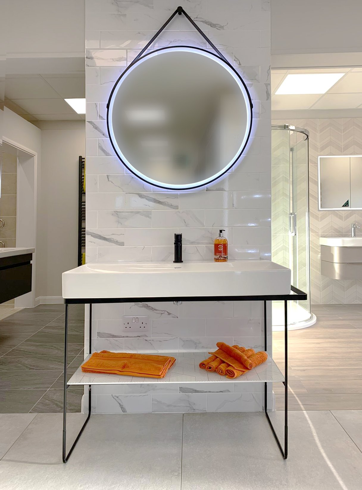Statement black line contemporary bathroom vanity with storage and iluminated mirror