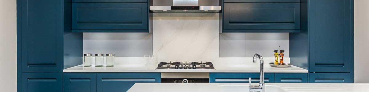 Oxford Blue kitchen units in Turnbulls kitchens showroom
