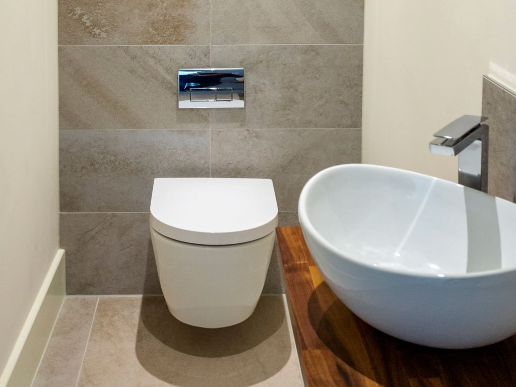 Small, modern cloakroom