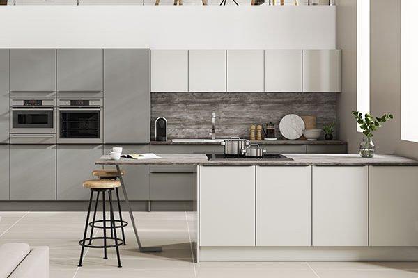 Symphony Kitchen - Inline Alta Dusk & Pearl Grey two tone kitchen