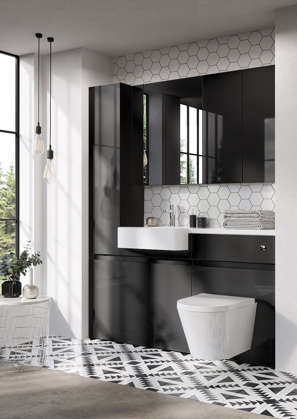 Combine black bathroom cabinets with geometry