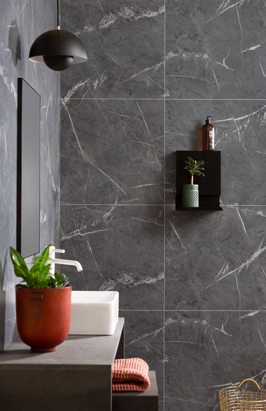 Statement splashback with grey marble