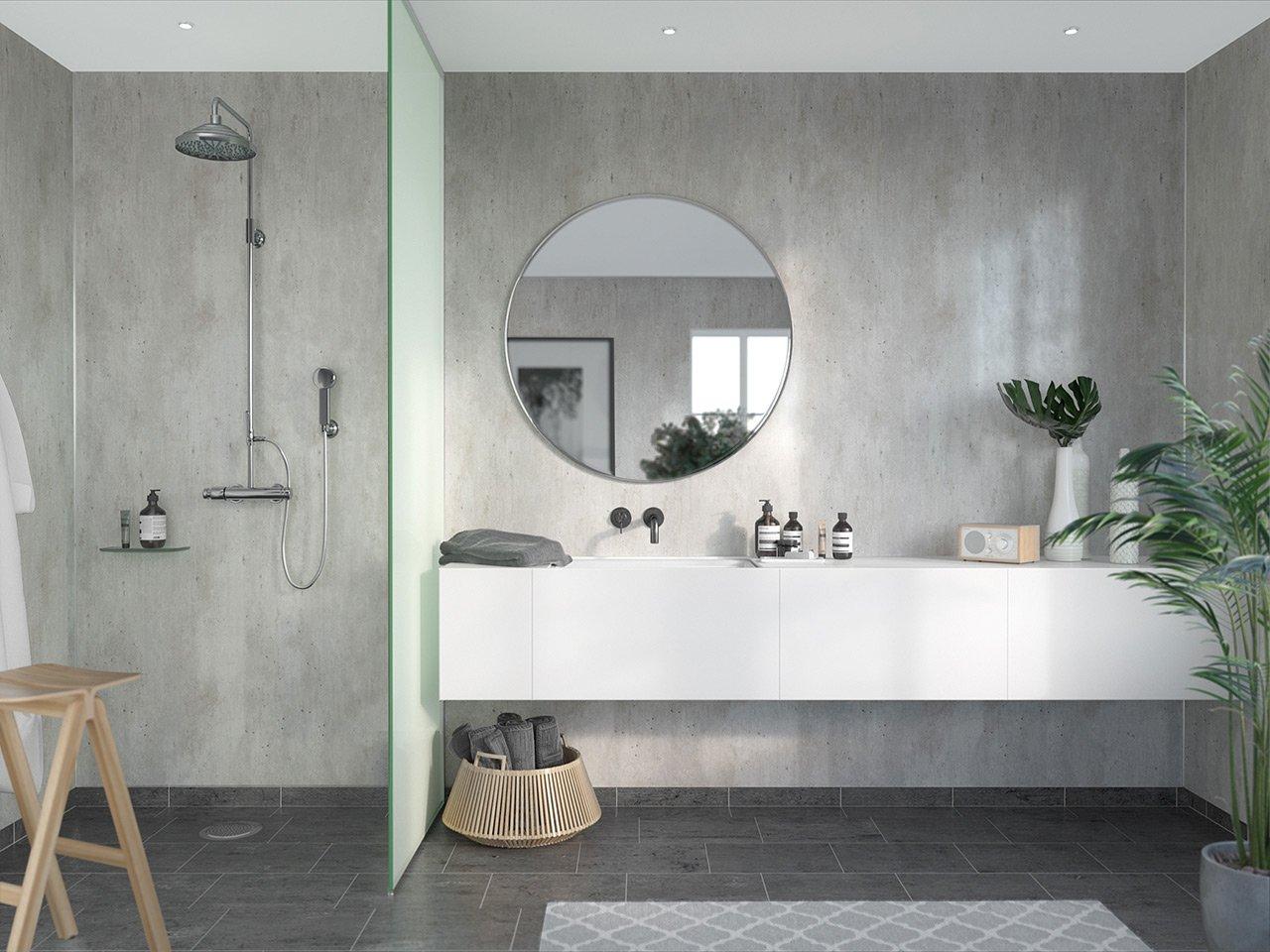 Grey stone-look bathroom wall panels