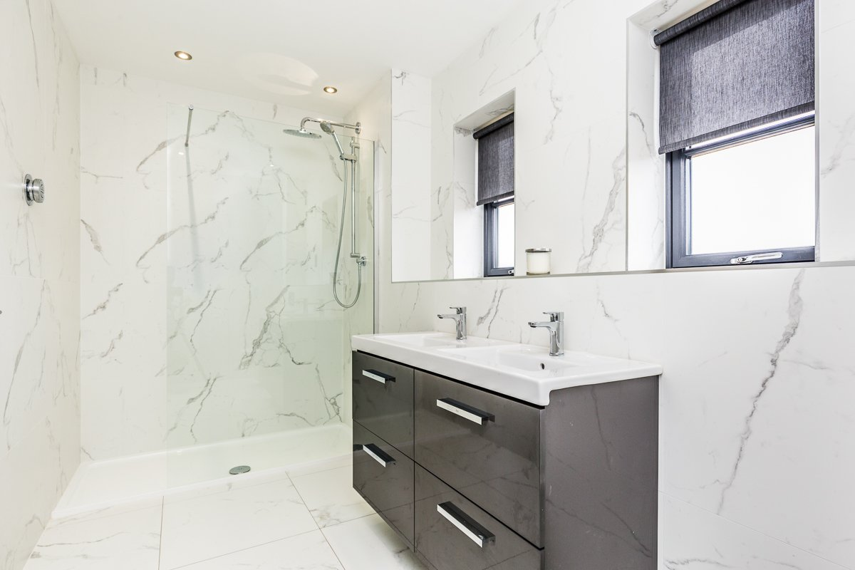 Bathroom Ideas - marble walls in monochrome bathroom