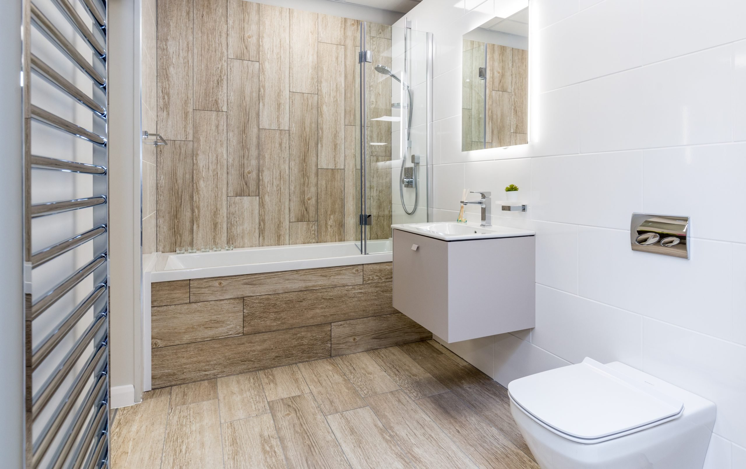 Textured timber cladding for this modern bathroom