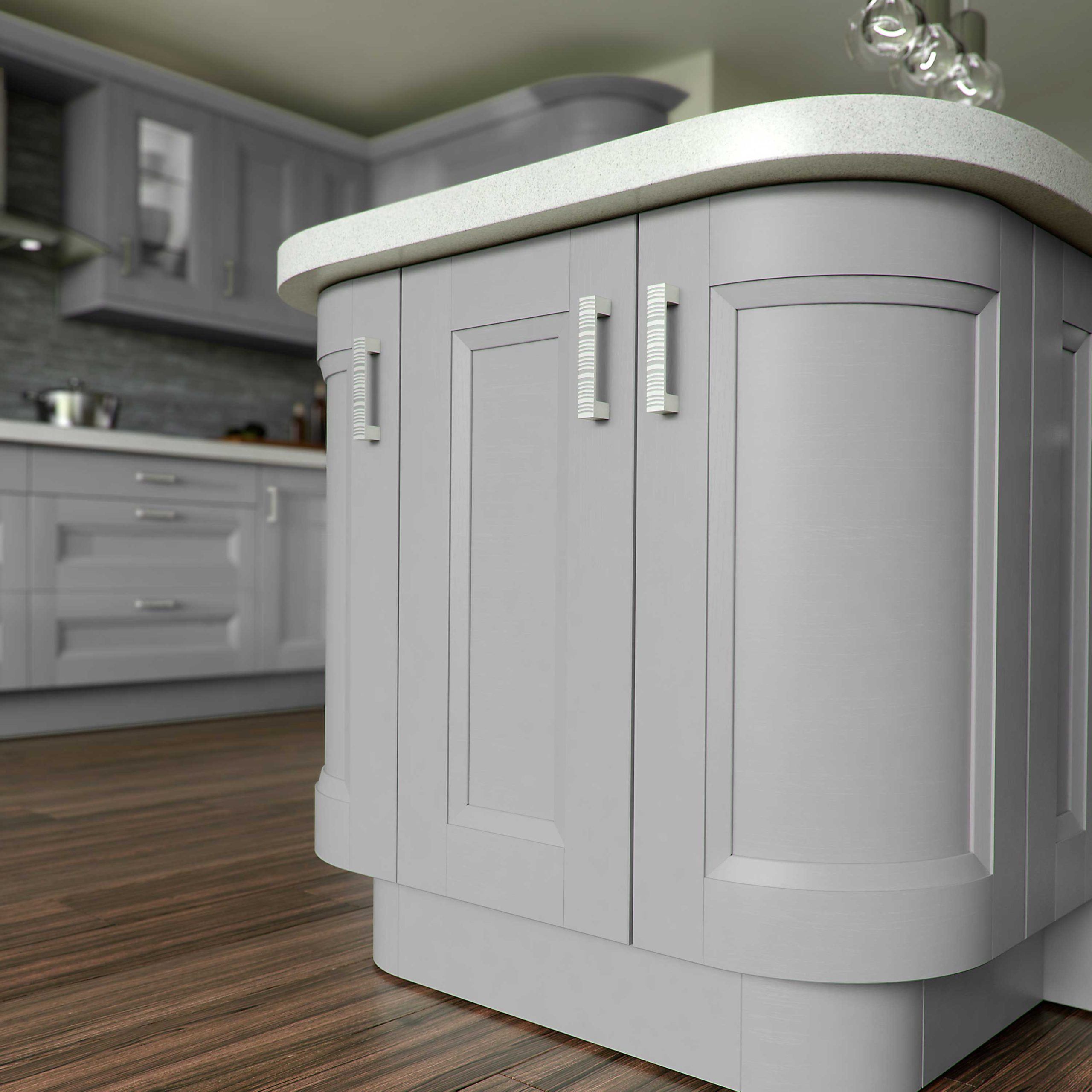 A warm grey paint finish for elegant cabinetry