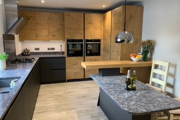 Grey Slate kitchen with Oak effect cabinets