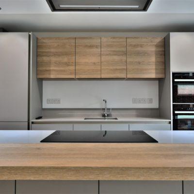 Grey kitchen - grey and wood tones kitchen