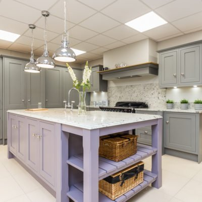 Grey kitchen with Lilac island in Shaker kitchen style