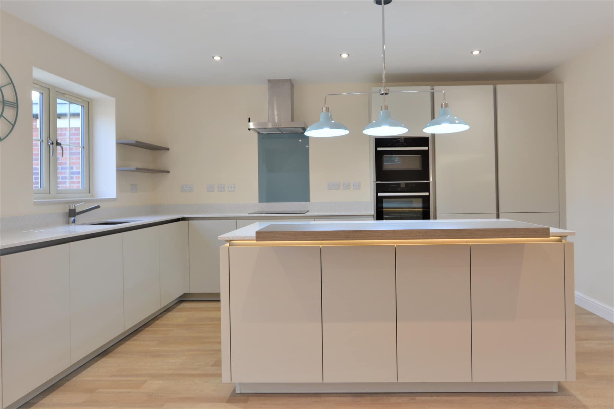 Light Grey Kitchen - matt kitchen in an off-white colour