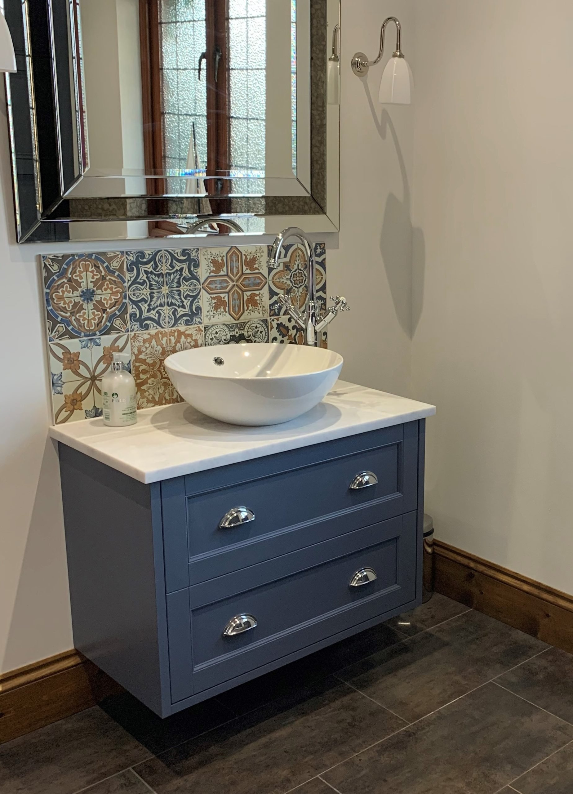 Bold backsplash with Moroccan tile mosaic