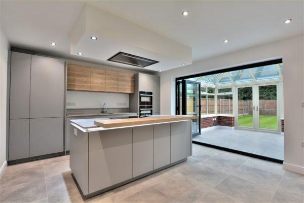 grey kitchen - open plan kitchen