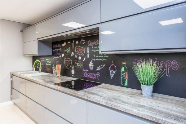 High Gloss Grey Kitchen with whiteboard backsplash - kitchen Ideas