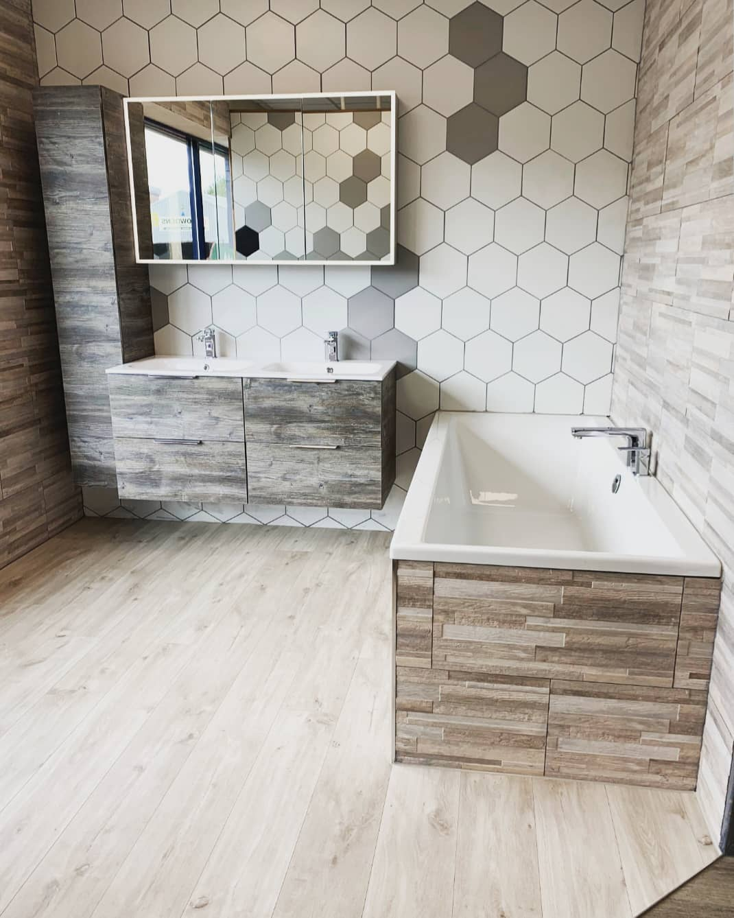 Geometric tiling on display at our Boston Bathrooms Showroom