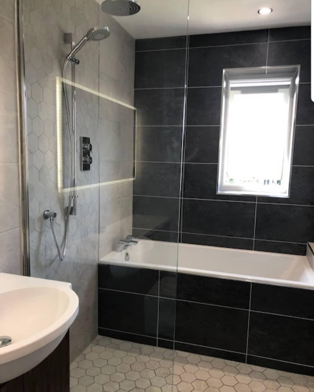 Grey Bathroom with shower and bath