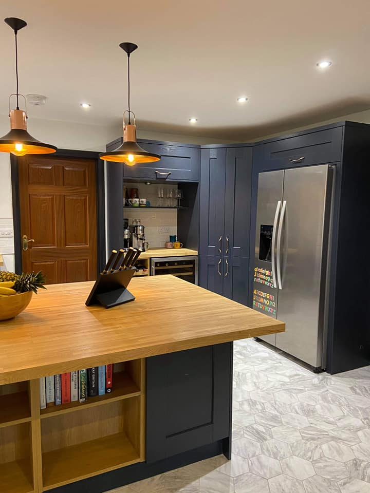 Indigo Kitchen with natural wood accents