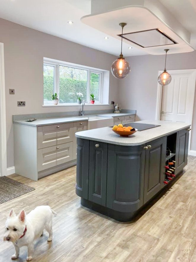 Kitchen island painted in Anthracite with Pendant lighting
