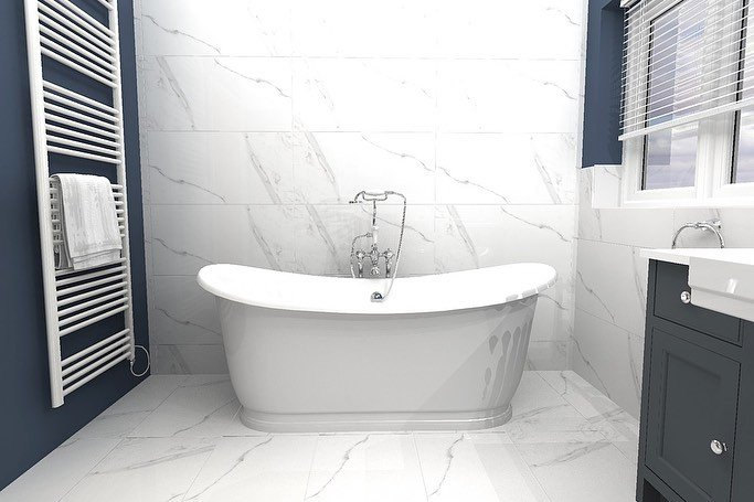 Navy and marble traditional bathroom (2)