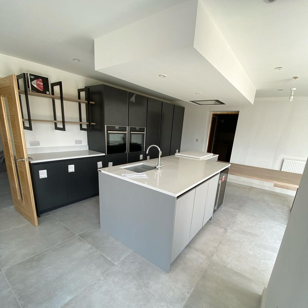 Contemporary kitchen with open shelving