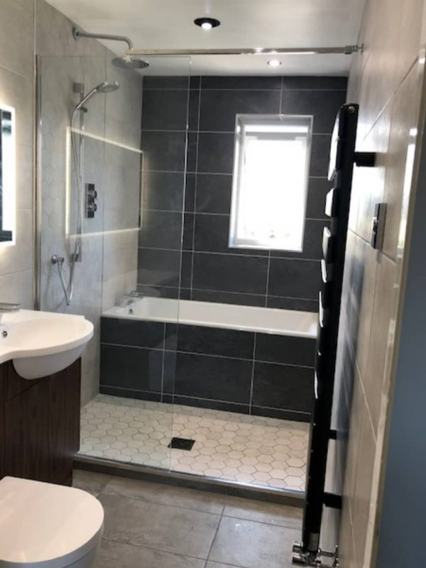 Walk-in shower and Bath in small bathroom ensuite