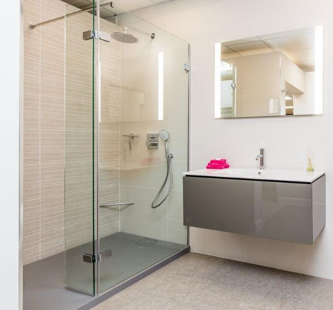 Walk-in shower in a modern bathroom