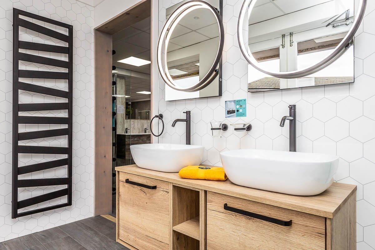 Double basins and designer towel warmer radiator on display at Boston Bathroom Showroo