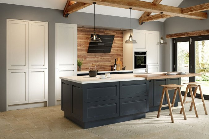 Two kinds of grey balanced by natural wood surfaces