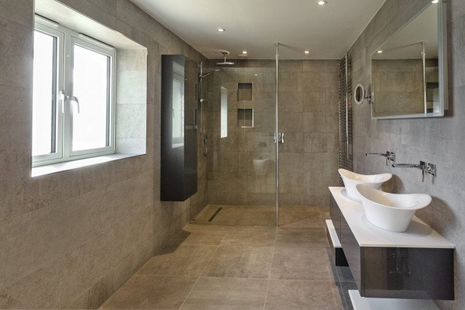 Walk-in wet room in natural stone