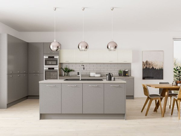 Modern Kitchen - Symphony Plaza two-tone Contemporary kitchen units in Cobble Grey & Porcelain